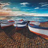 Portugese boten: € 500,- Acryl op doek. Volledig in paletmes. B x H = 120 x 80 cm, zijkanten meegeschilderd.
