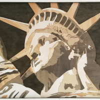 Lady Liberty: €350,- Houtsnede op plaat. B x H = 95 x 63cm
