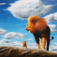 Leeuw met welp: € 215,- Acryl op doek. Geheel in paletmes B x H = 80 x 60 cm.