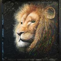 Leeuwenportret: VERKOCHT. Mixed media