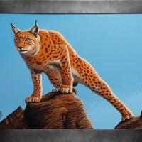 Lynx: € 185,- Acryl op plaat. B x H = 80 x 60 cm