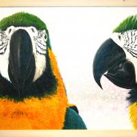 Ara's: € 250,- Acryl op plaat. B x H = 126 x 65 cm