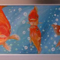 goudvissen: € 175,- Acryl op plaat B x H = 130 x 52 cm