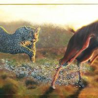 Jagend luipaard: VERKOCHT. Acryl op plaat B x H = 122 x 60 cm