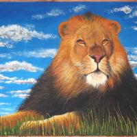 Leeuw: VERKOCHT Acryl op plaat B x H = 102 x 62 cm