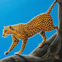 Luipaard in boom: € 250,- Acryl op doek. B x H = 82 x 102cm