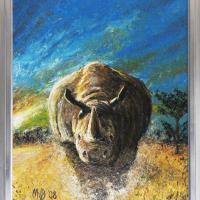 Neushoorn: € 225,- Acryl op doek B x H = 67 x 87 cm