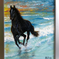 Rennend paard: € 185,- Acryl op doek B x H = 67 x 87 cm
