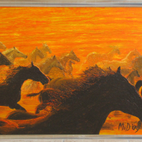 Rennende paarden: € 185,- Acryl op doek B x H = 91 x 67 cm