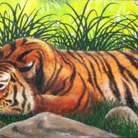 Slapende tijger: € 175,- Acryl op doek. B x H = 122 x 40 cm
