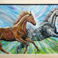 Twee paarden: € 225,- Acryl op plaat B x H = 126 x 65 cm