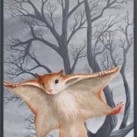 Vliegende eekhoorn: € 220,- Acryl op plaat. B x H = 60 x 122 cm