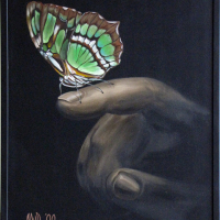 vlinder: VERKOCHT Acryl op doek B x H = 81 x 101 cm