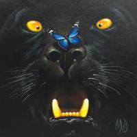 Zwarte panter: € 145,- Acryl op doek. B x H = 50 x 50 cm