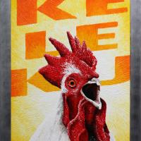 Kukeleku: € 250,- Paletmes, acryl op plaat B x H = 70 x 131 cm