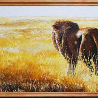 Leeuw in veld: €275,- Acryl op plaat Geheel in paletmes B x H = 128 x 56 cm