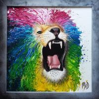 Leeuw: VERKOCHT. Acryl op doek