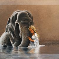 Vrouw met olifant: € 125,- Acryl op doek B x H = 80 x 60 cm